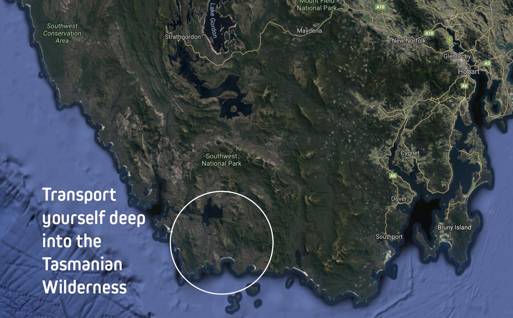 Map of Southwest Tasmania